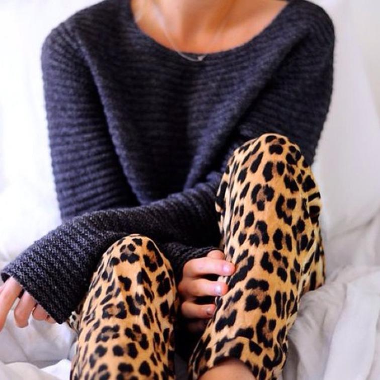LeopardPrintPantsLooseKnitTomboyFashionOverReason